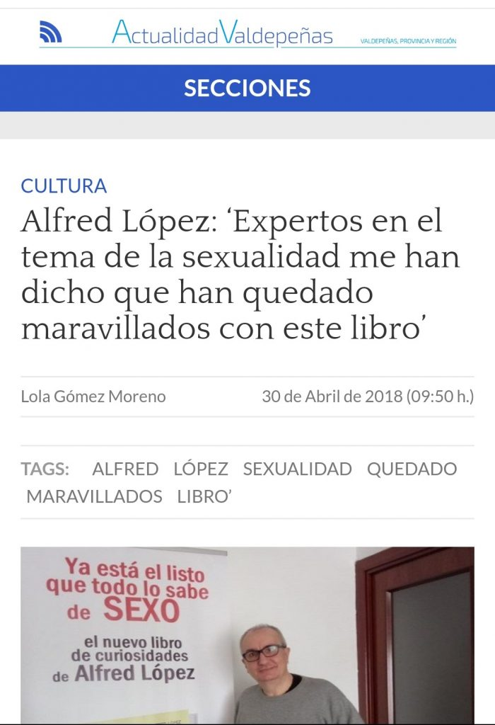 """Entrevista a Alfred López en el periódico digital """"Actualidad Valdepeñas"""""""
