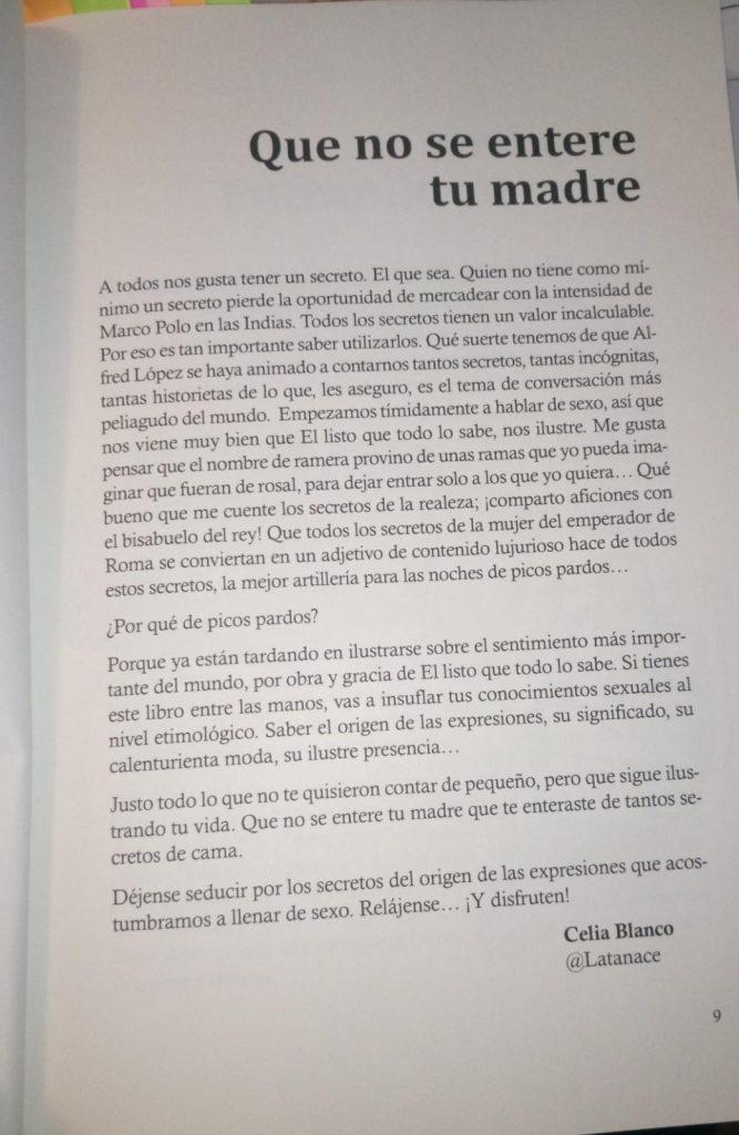 """Celia Blanco, prologuista del libro """"Ya está el listo que todo lo sabe de SEXO"""""""