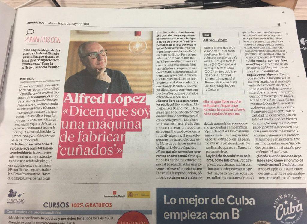 """Entrevista a Alfred López hablando de """"Ya está el listo que todo lo sabe de SEXO"""" en el diario 20minutos"""