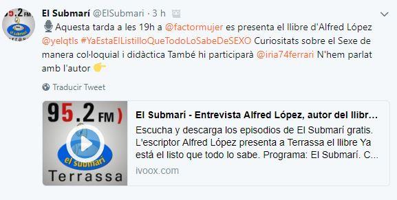 """Entrevista a Alfred López en el programa """"El Submarí"""" de la Ràdio Municipal de Terrassa"""