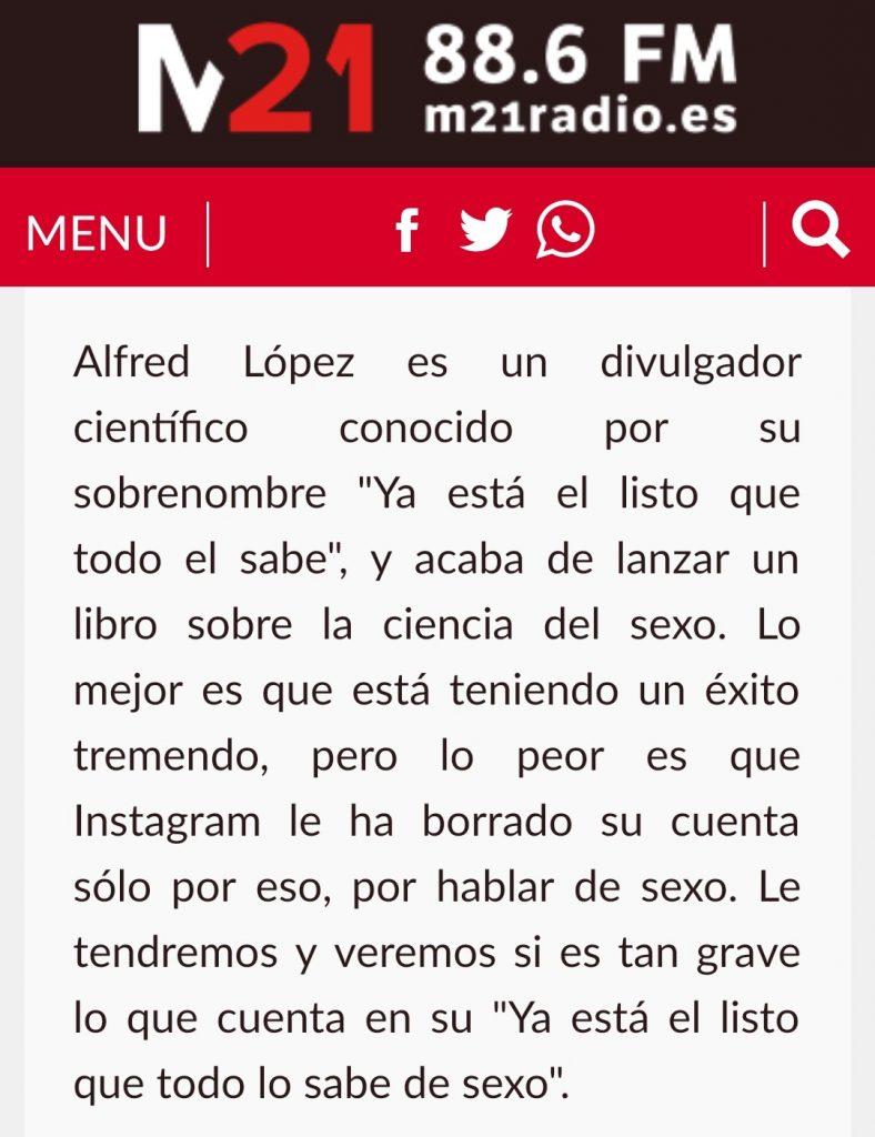 Entrevista a Alfred López en el programa Einstein en Malasaña