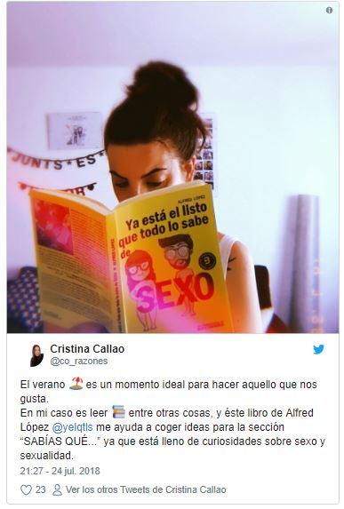 """Comparte en tus redes sociales una foto con el libro """"Ya está el listo que todo lo sabe de SEXO"""" y llévate un premio"""