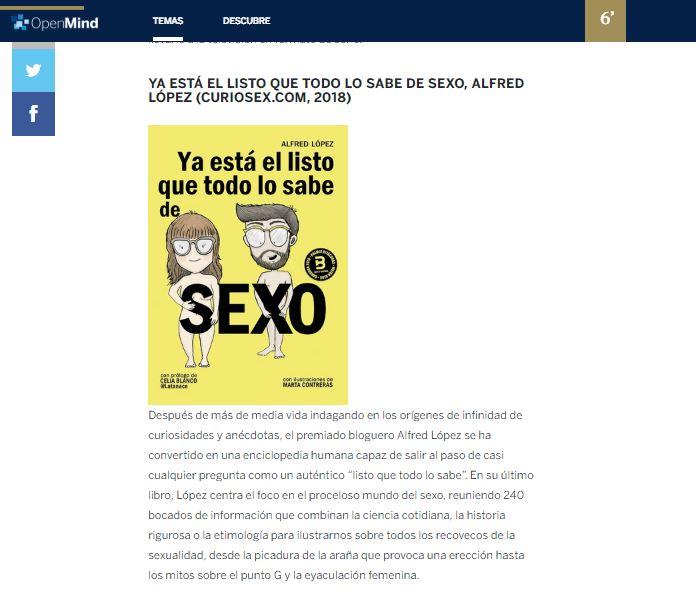"""El libro """"Ya está el listo que todo lo sabe de SEXO"""" entre las recomendaciones de Materia para leer este verano"""