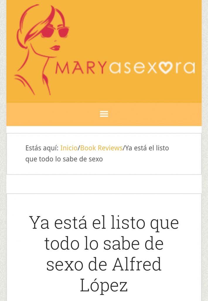 """Reseña del libro """"Ya está el listo que todo lo sabe de SEXO"""" en el prestigioso blog MaryAsexora"""