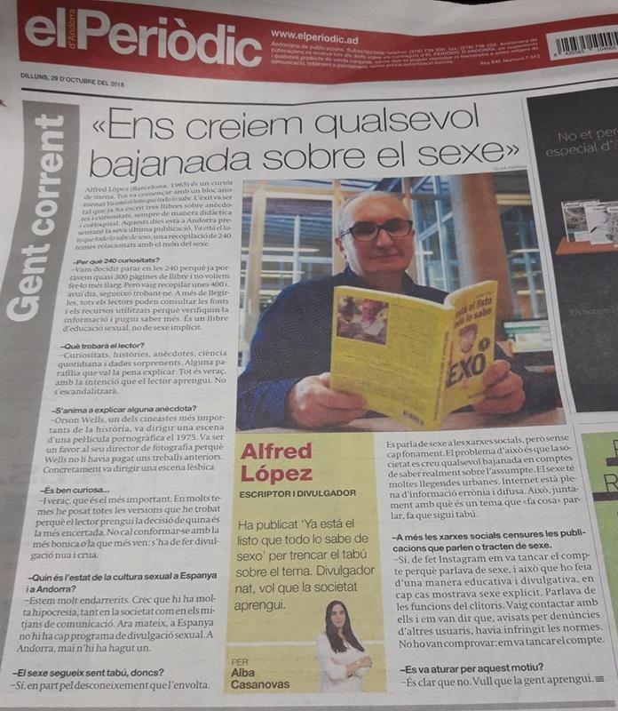 """El Periòdic d'Andorra dedica su contraportada a Alfred lópez y el libro """"Ya está el listo que todo lo sabe de SEXO"""""""