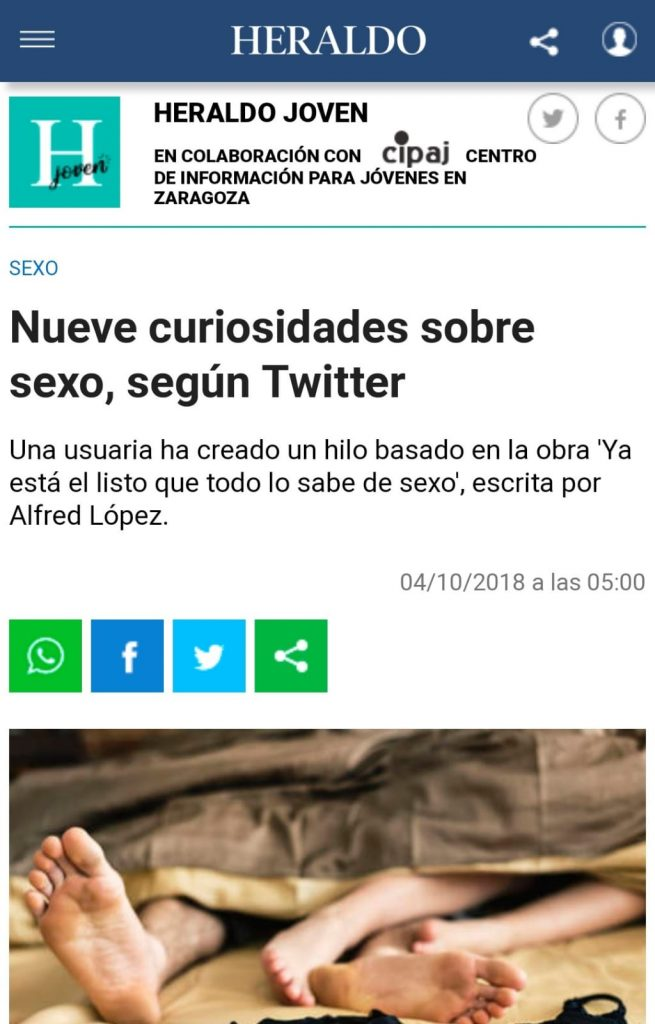 """El libro """"Ya está el listo que todo lo sabe de SEXO"""" de Alfred López en """"Heraldo Joven"""" del diario Heraldo"""