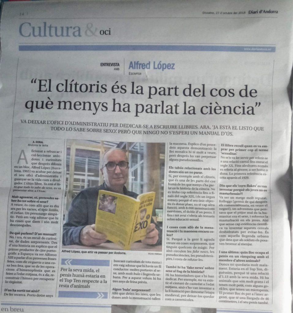 Entrevista a Alfred López en el Diari d'Andorra