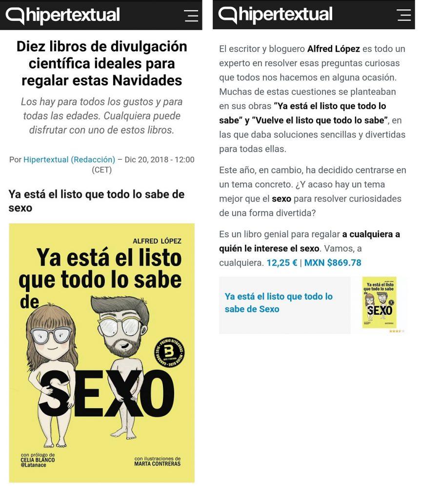 """El libro """"Ya está el listo que todo lo sabe de SEXO"""" de Alfred López entre las 10 recomendaciones de la web Hipertextual"""